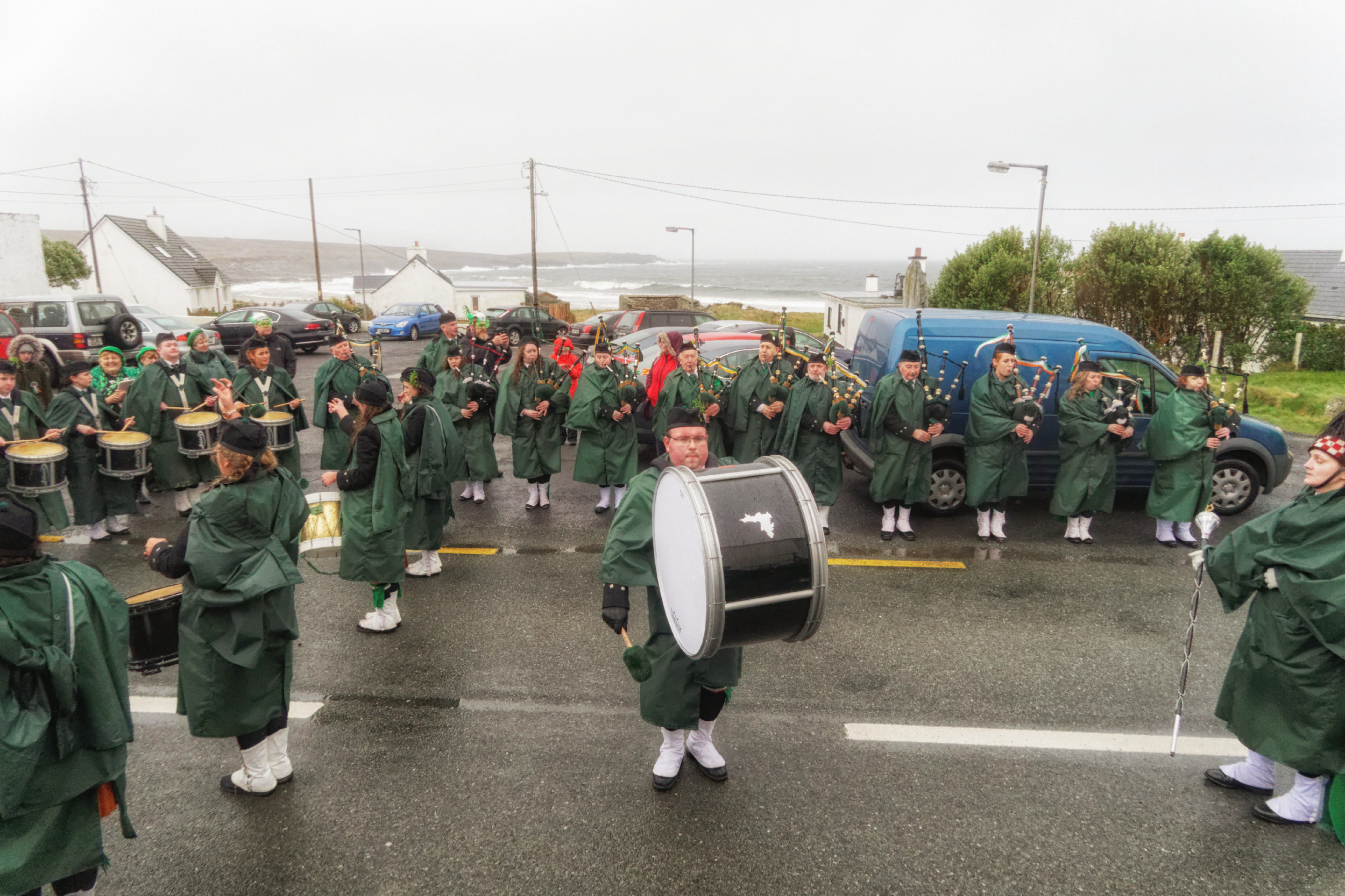 Dooagh Pipe Band on St. Patrick's Day 2017 in Dooagh